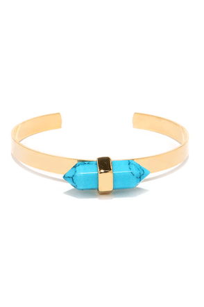 Rock to the Beat Turquoise Crystal Bracelet at Lulus.com!