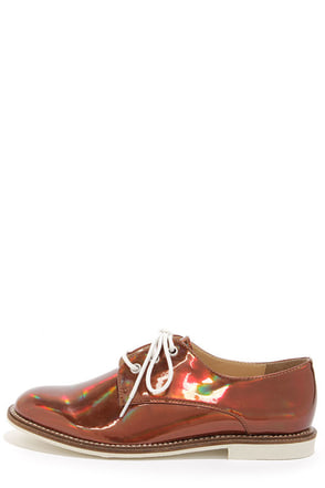 Luichiny Lucky Girl Red and Yellow Fabric Oxford Flats