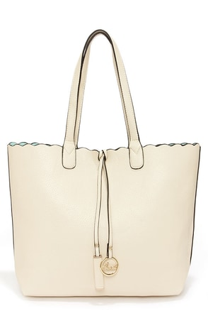 Two Truths Reversible Cream Tote