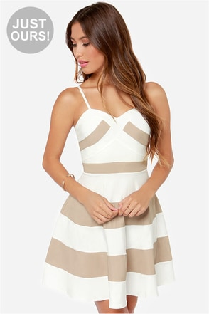 LULUS Exclusive Band and Deliver Beige and Navy Blue Dress