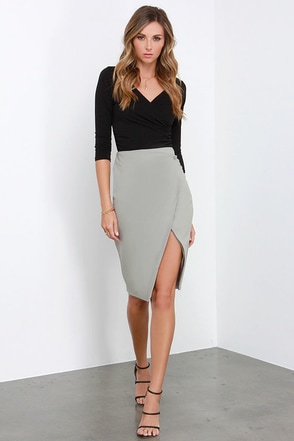 Glamorous Boardroom Beauty Grey Midi Skirt at Lulus.com!