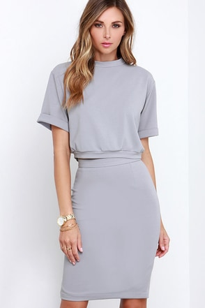 Dare to Dream Grey Two-Piece Dress at Lulus.com!