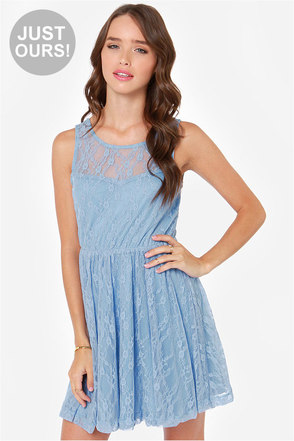 LULUS Exclusive Little Lady Periwinkle Blue Lace Dress
