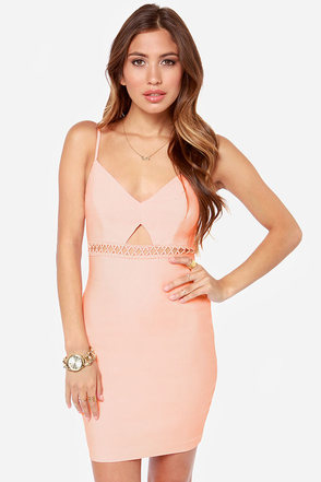 Utterly Untamed Cutout Peach Dress