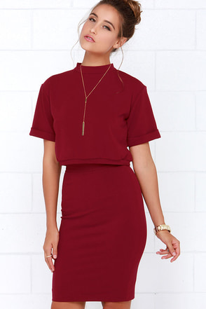 Dare to Dream Wine Red Two-Piece Dress at Lulus.com!