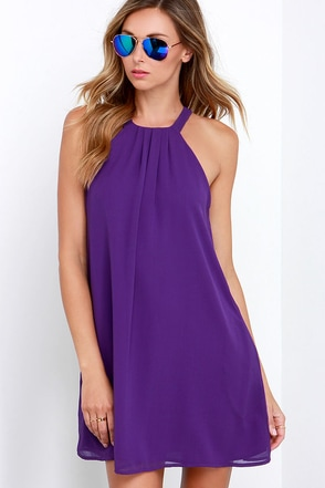 Shift Your Gaze Purple Swing Dress at Lulus.com!