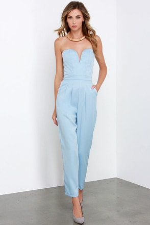 Glamorous Ever After Party Light Blue Strapless Jumpsuit at Lulus.com!
