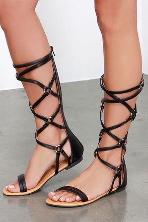 Over Hill, Over Delphi Tan Tall Gladiator Sandals at Lulus.com!