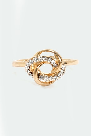 Gone Knots Gold Rhinestone Ring