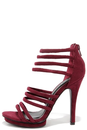 You Better Step Burgundy Suede Caged Heels at Lulus.com!