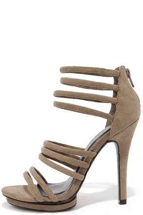 You Better Step Taupe Suede Caged Heels at Lulus.com!