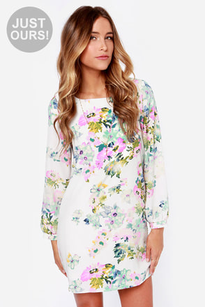 LULUS Exclusive Hydrangea Hopes Ivory Floral Print Dress