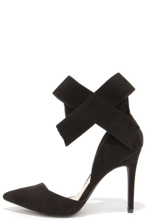 Keep a Bow Profile Black Suede Bow Heels at Lulus.com!
