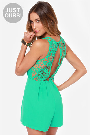 LULUS Exclusive Talk Flirty to Me Green Lace Romper