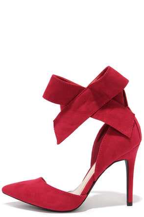 Keep a Bow Profile Dark Red Suede Bow Heels at Lulus.com!