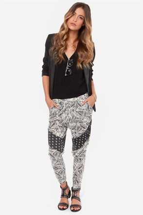 RVCA Skip Forward Black Print Harem Pants