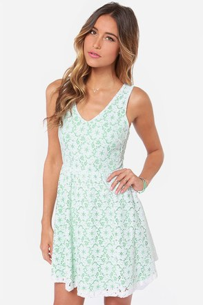 Where Flowers Grow Mint and Ivory Lace Dress at Lulus.com!