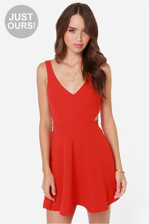 LULUS Exclusive Star Date Coral Red Dress