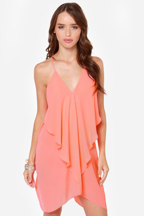 Tier for the Party Neon Coral Dress