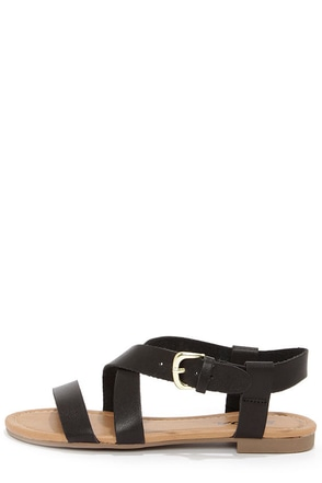 Soda Borgo Black Ankle Strap Flat Sandals