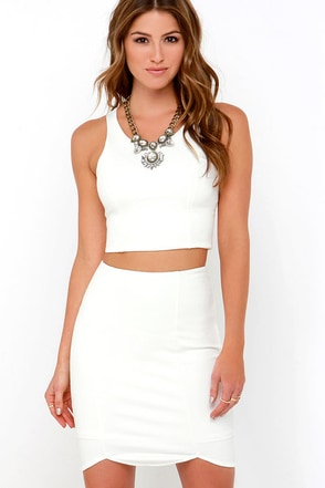 Throw a Curve Ivory Two-Piece Dress at Lulus.com!