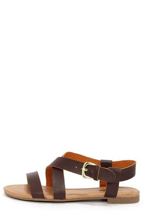Soda Borgo Brown Ankle Strap Flat Sandals