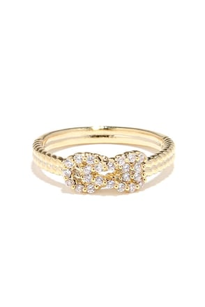 Why Knot? Gold Rhinestone Ring at Lulus.com!