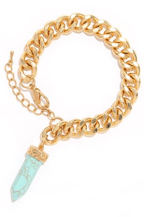 High Stakes Gold and Turquoise Bracelet