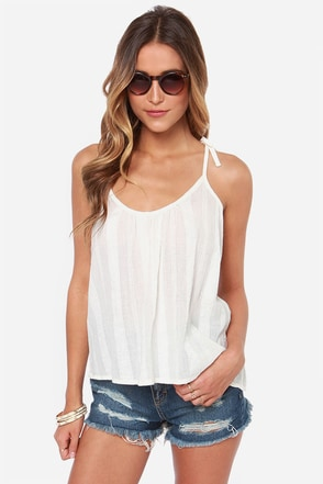RVCA Between Lines Cream Tank Top