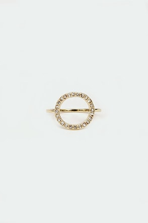 Circle Up Gold Rhinestone Ring