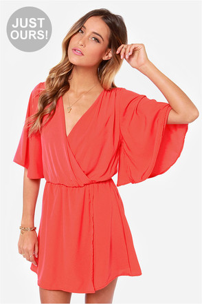 LULUS Exclusive The Way You Move Coral Red Dress