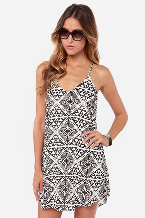 Cross Your T's Ivory and Black Print Shift Dress