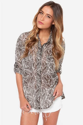 RVCA Talons Ivory and Black Print Top