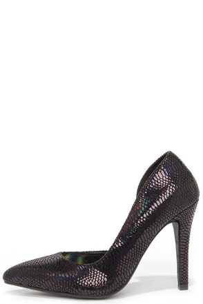 Party Animal Silver Snakeskin D'Orsay Pumps at Lulus.com!