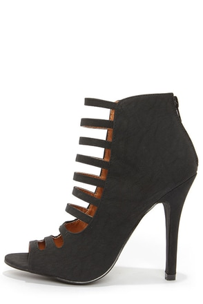 Blair 1 Black Caged High Heel Booties