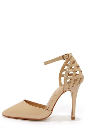 Moon Nude Patent Lattice Heel Pointed Pumps