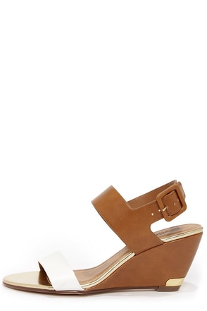 City Classified Camya Salmon and Light Tan Wedge Sandals