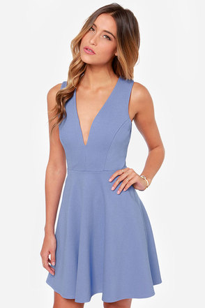 Queen Sweep Periwinkle Dress