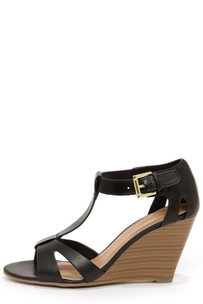 City Classified Luisa Dark Tan T Strap Wedge Sandals