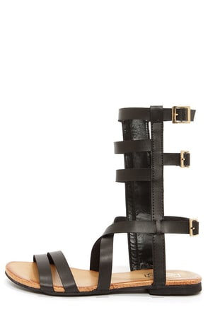 Ongee 08 Black Tall Caged Gladiator Sandals