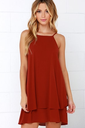 Dee Elle Whimsical Whim Rust Red Dress at Lulus.com!