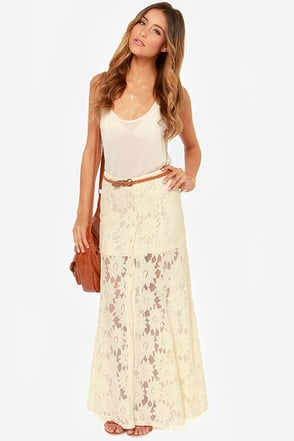 Care-Lace and Free Cream Lace Maxi Skirt