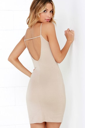 After Party Beige Bodycon Mini Dress at Lulus.com!