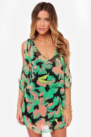 Volcom Strand Green Print Dress