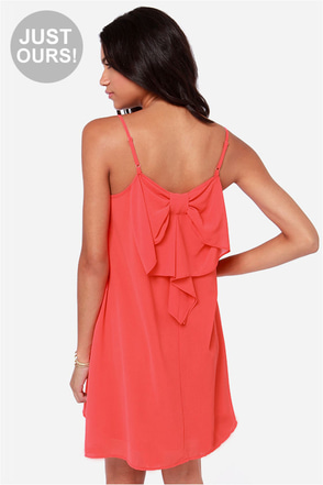LULUS Exclusive Bow Fo Show Coral Orange Shift Dress