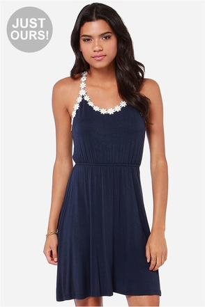 LULUS Exclusive Every Daisy Navy Blue Dress