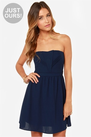 LULUS Exclusive Heart of the Matter Navy Blue Strapless Dress