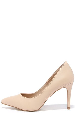 True to Formal Nude Pointed Pumps at Lulus.com!
