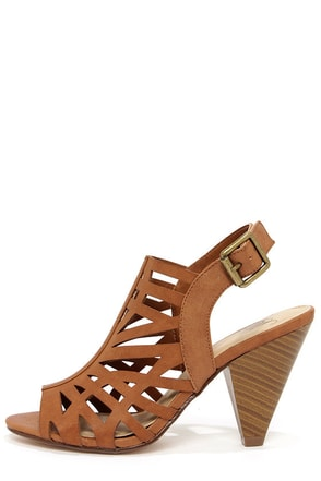 My Delicious Bolden Tan Laser Cut Cone Heels