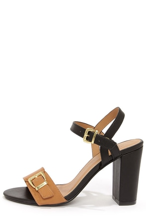 City Classified Belini Natural and Black Ankle Strap Sandals